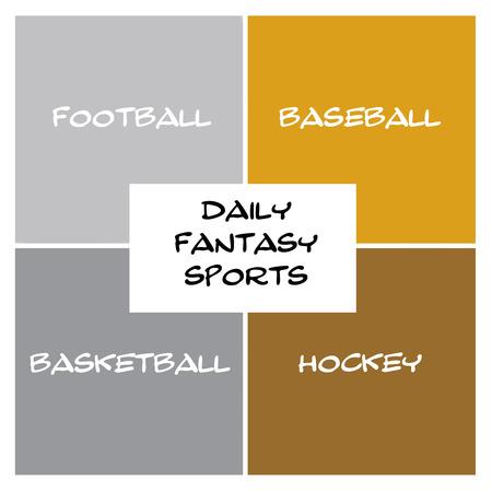 Scatole giornalieri Fantasy sportivi in ??argento e oro e il concetto di rettangolo con i termini grandi come il calcio, il baseball, hockey e altro ancora. Archivio Fotografico - 47924862