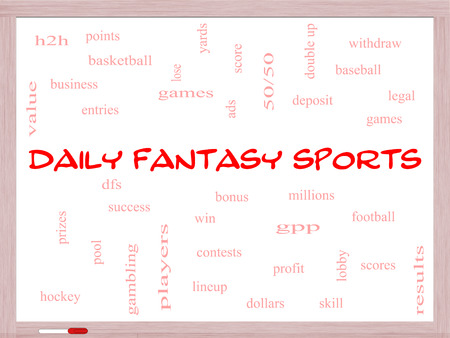 win money: Daily Fantasy Sports Word Cloud Concept on a Whiteboard with great terms such as games, lineups, win, money and more. Stock Photo