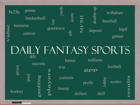 win money: Daily Fantasy Sports Word Cloud Concept on a Blackboard with great terms such as games, lineups, win, money and more. Stock Photo