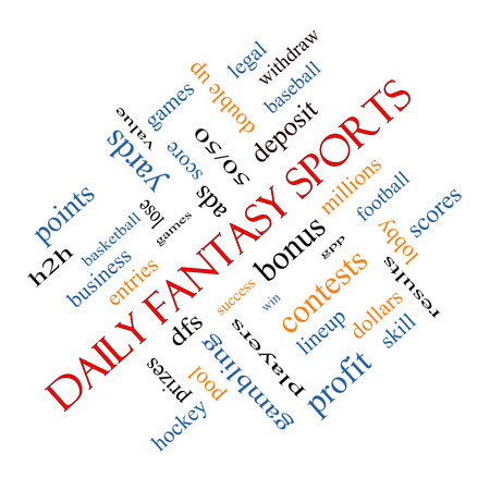 win money: Daily Fantasy Sports Word Cloud Concept angled with great terms such as games, lineups, win, money and more. Stock Photo