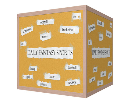 Daily Fantasy Sports 3D Corkboard Word Concept with great terms such as football, win, contests and more.