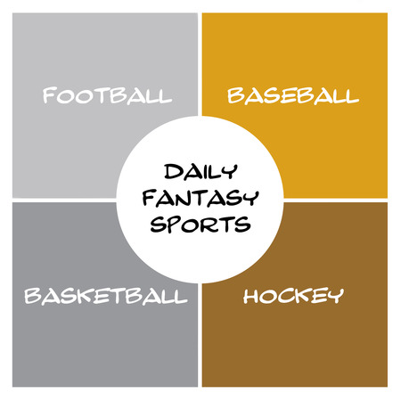 silver circle: Daily Fantasy Sports Boxes in silver and gold and circle concept with great terms such as football, baseball, hockey and more.