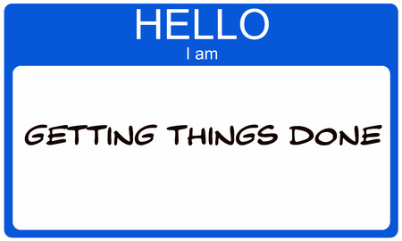 name: Hello I am Getting Things Done blue name tag sticker making a great concept