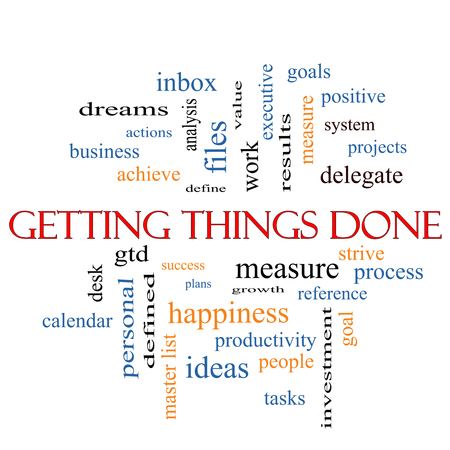 Getting Things Done Word Cloud Concept with great terms such as measure, success, tasks and more. Stock Photo