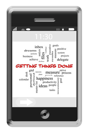 strive: Getting Things Done Word Cloud Concept on a Touchscreen Phone with great terms such as system, goals, tasks and more. Stock Photo