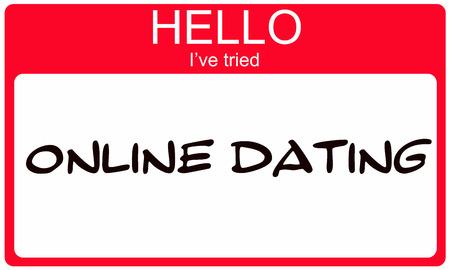 Hallo ik heb geprobeerd Online Dating rode naamplaatje maken van een geweldig concept Stockfoto