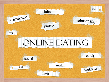Online Dating Corkboard Word Concept with great terms such as romance, adults, flirt, love and more.