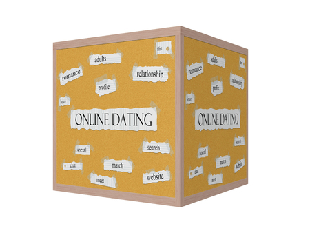 Online Dating 3D Corkboard Word Concept with great terms such as romance, adults, flirt, love and more.