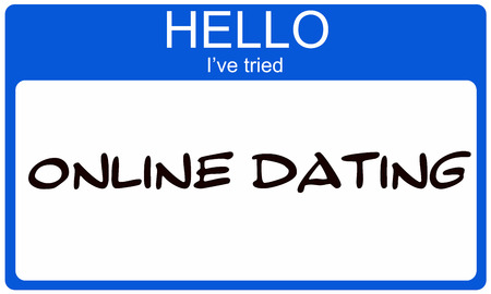 tried: Hello Ive Tried Online Dating blue name tag making a great concept