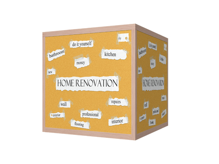 Home Renovation 3D Corkboard Word Concept with great terms such as kitchen, diy, repairs and more.