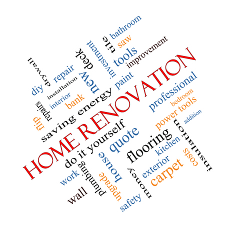 word cloud: Home Renovation Word Cloud Concept angled with great terms such as diy, kitchen, repair and more.
