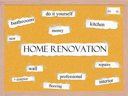 Home Renovation Corkboard Word Concept with great terms such as kitchen, diy, repairs and more.
