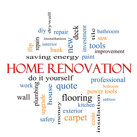 Home Renovation Word Cloud Concept with great terms such as diy, kitchen, repair and more.
