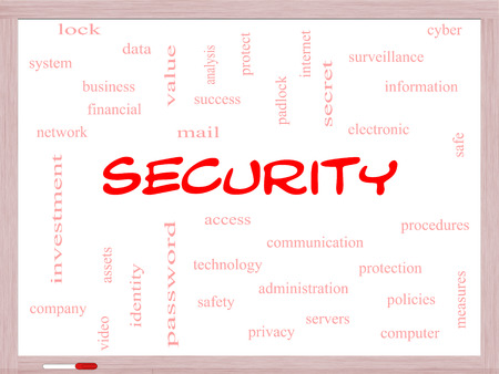 company secrets: Security Word Cloud Concept on a Whiteboard with great terms such as access, safety, computer and more.