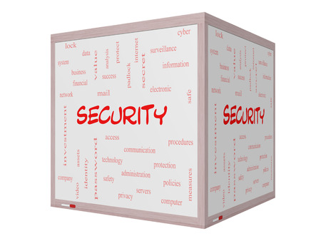 company secrets: Security Word Cloud Concept on a 3D Whiteboard with great terms such as access, safety, computer and more. Stock Photo