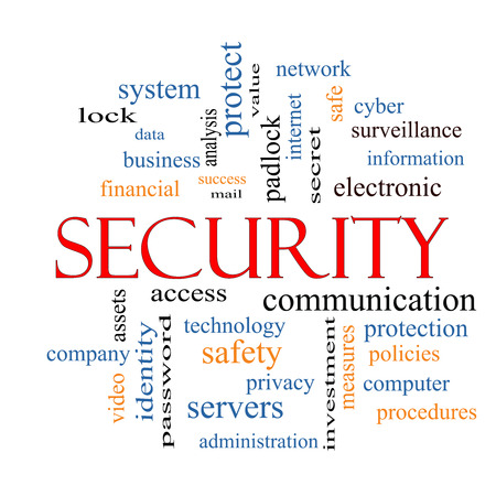 company secrets: Security Word Cloud Concept with great terms such as access, safety, computer and more. Stock Photo