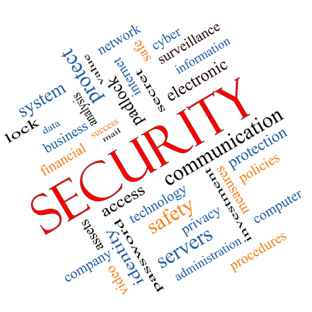 company secrets: Security Word Cloud Concept angled with great terms such as access, safety, computer and more.