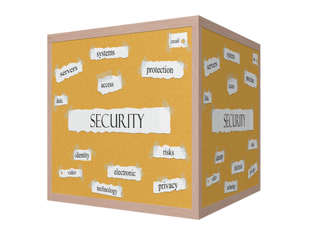 Security 3D Corkboard Word Concept with great terms such as servers, system, email and more. Stock Photo