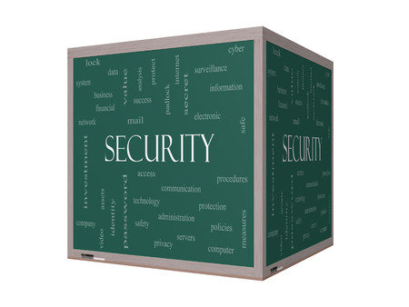 company secrets: Security 3D Word Cloud Concept on a Blackboard with great terms such as access, safety, computer and more.