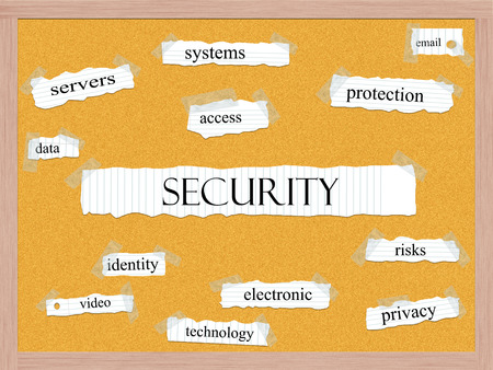 Security Corkboard Word Concept with great terms such as servers, system, email and more.