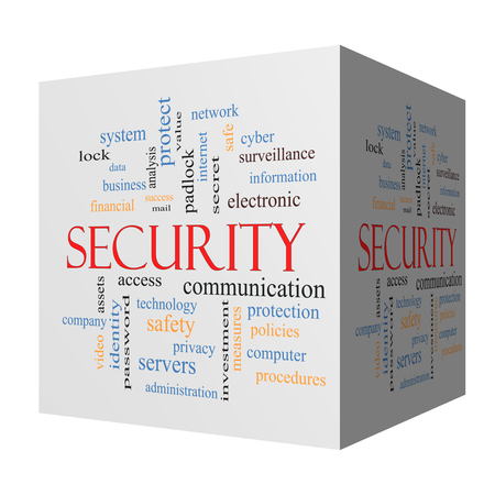 security safety: Security 3D cube Word Cloud Concept with great terms such as access, safety, computer and more.