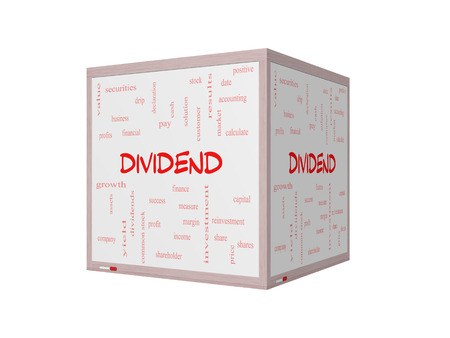 dividend: Dividend Word Cloud Concept on a 3D Whiteboard with great terms such as pay, assets, yield and more.