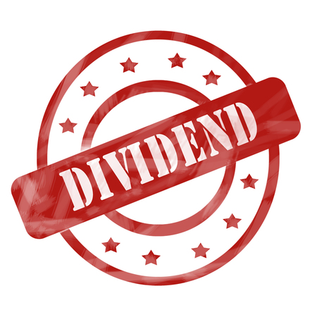 dividend: A red ink weathered roughed up circles and stars stamp design with the word Dividend on it making a great concept.