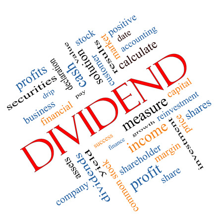dividend: Dividend Word Cloud Concept angled with great terms such as pay, assets, yield and more.