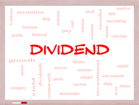 dividend: Dividend Word Cloud Concept on a Whiteboard with great terms such as pay, assets, yield and more.