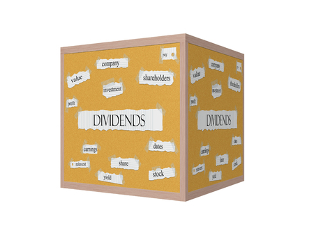 Dividend 3D Corkboard Word Concept with great terms such as shareholders, pay, value and more.