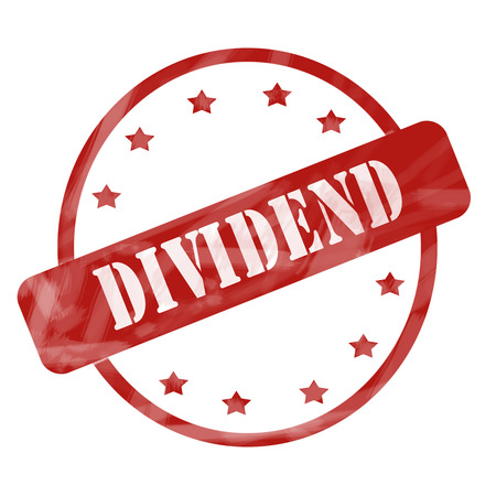 dividend: A red ink weathered roughed up circle and stars stamp design with the word Dividend on it making a great concept. Stock Photo