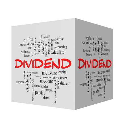 dividend: Dividend 3D Word Cloud Concept in red caps with great terms such as pay, assets, yield and more.