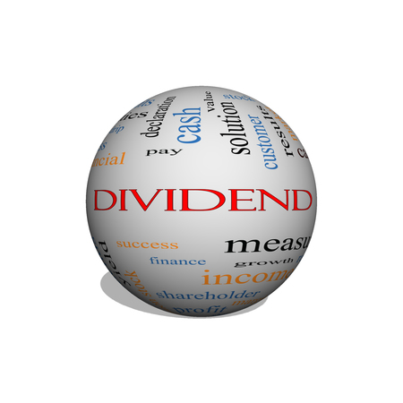 Dividend 3D sphere Word Cloud Concept with great terms such as pay, assets, yield and more. Stock Photo