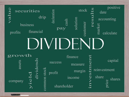 dividend: Dividend Word Cloud Concept on a Blackboard with great terms such as pay, assets, yield and more.