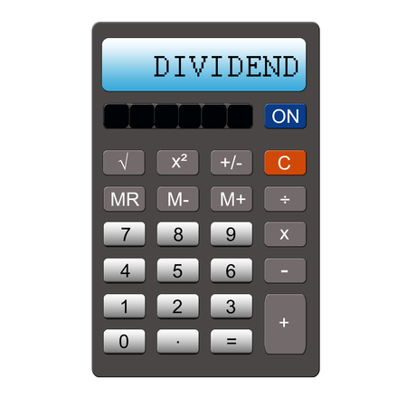 dividend: Dividend typed out on a Calculator making a great investing concept.