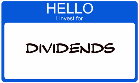 Hello I Invest for Dividends blue name tag making a great concept