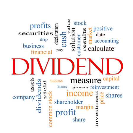 dividend: Dividend Word Cloud Concept with great terms such as pay, assets, yield and more.