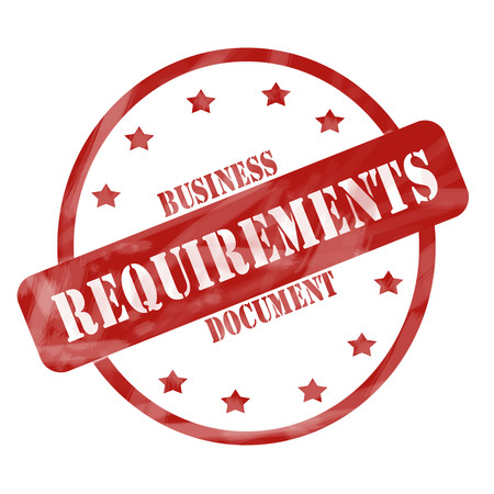 requirements: A red ink weathered roughed up circle and stars stamp design with the words Business Requirements Document on it making a great concept.