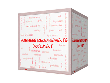 requirements: Business Requirements Document Word Cloud Concept on a 3D Whiteboard with great terms such as solution, quality, project, baseline and more. Stock Photo