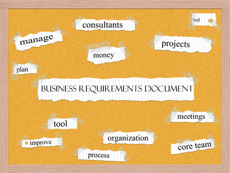 requirements: Business Requirements Document Corkboard Word Concept with great terms such as projects, brd, consultnants and more. Stock Photo