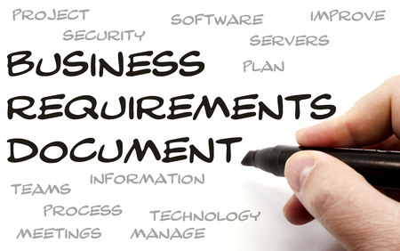 requirements: Business Requirements Document being hand written with great terms such as plan, servers and more. Stock Photo