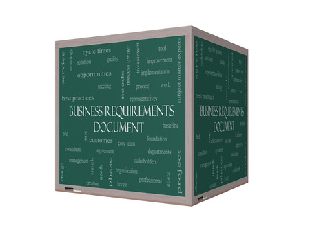 requirements: Business Requirements Document Word Cloud Concept on a 3D Blackboard with great terms such as solution, quality, project, baseline and more.
