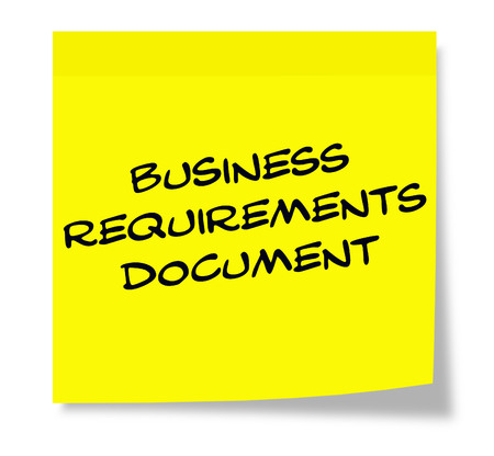 requirements: Business Requirements Document written on a yellow sticky note making a great concept. Stock Photo