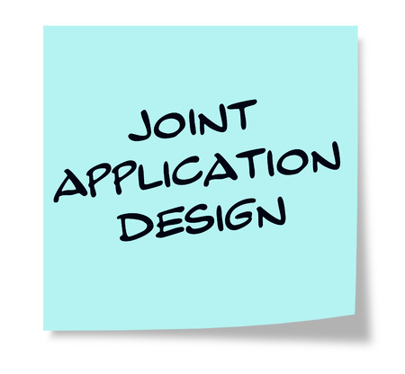 Joint Application Design written on a square blue sticky note
