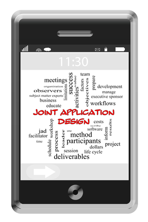 Joint Application Design Word Cloud op touchscreen telefoon met grote termen als jad, vergaderingen, proces en nog veel meer.