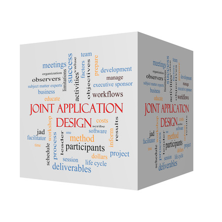 subject matter: Joint Application 3D Illustration Word Cloud Concept with great terms such as workflows, meetings, projects and more. Stock Photo