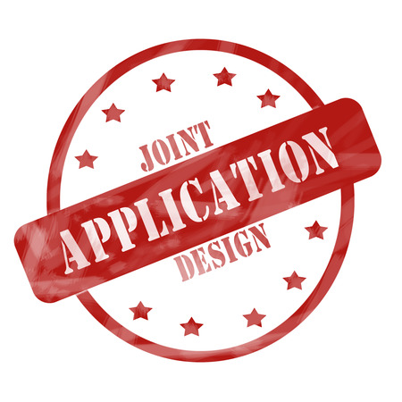 Joint Application Design Red Circle and Stars Stamp making a great concept. Imagens