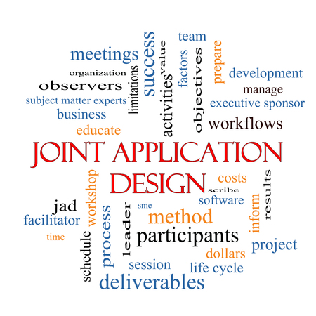 Joint Application Word Cloud Concept met grote termen als workflows, vergaderingen, projecten en nog veel meer. Stockfoto