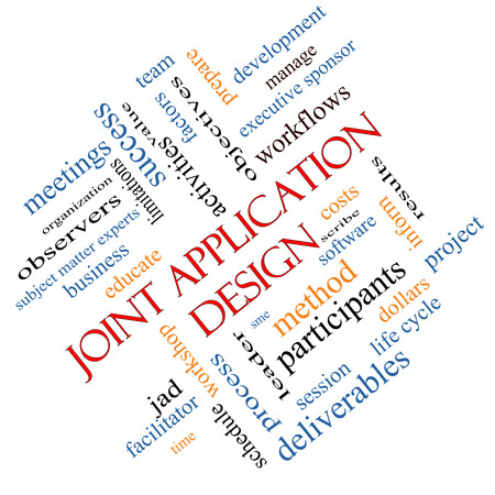 Joint Application Word Cloud Concept hoek met grote termen als workflows, vergaderingen, projecten en nog veel meer. Stockfoto