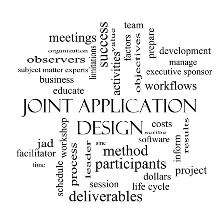 Joint Application Word Cloud Concept in zwart-wit met grote termen als workflows, vergaderingen, projecten en nog veel meer.